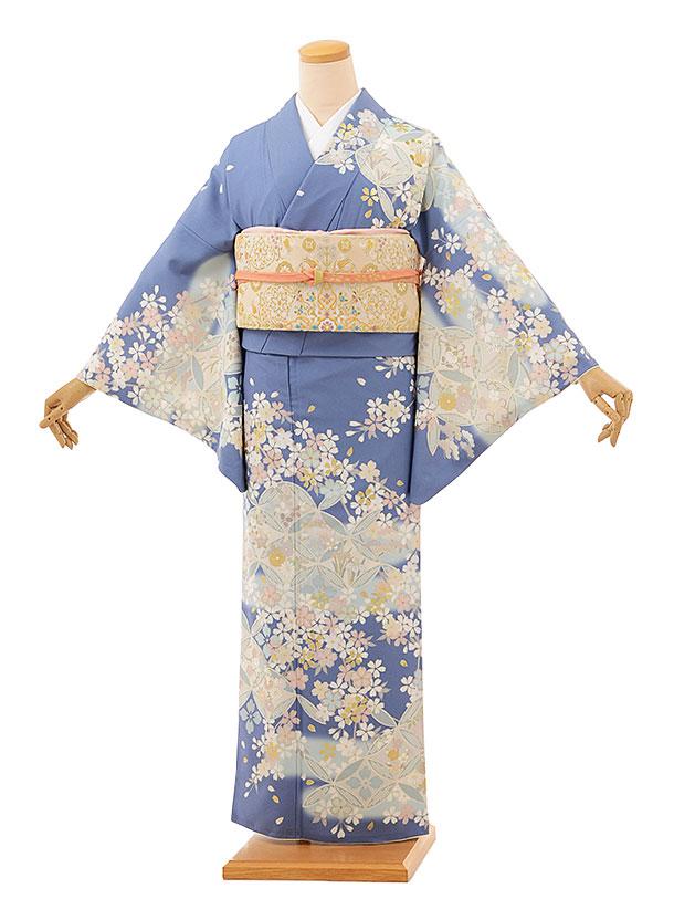 訪問着レンタルtc856 JAPANSTYLE ブルーグレー地 七宝に桜(化繊)