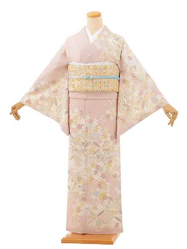 訪問着レンタルtc857 JAPANSTYLE 薄ピンク地 七宝に桜(化繊)
