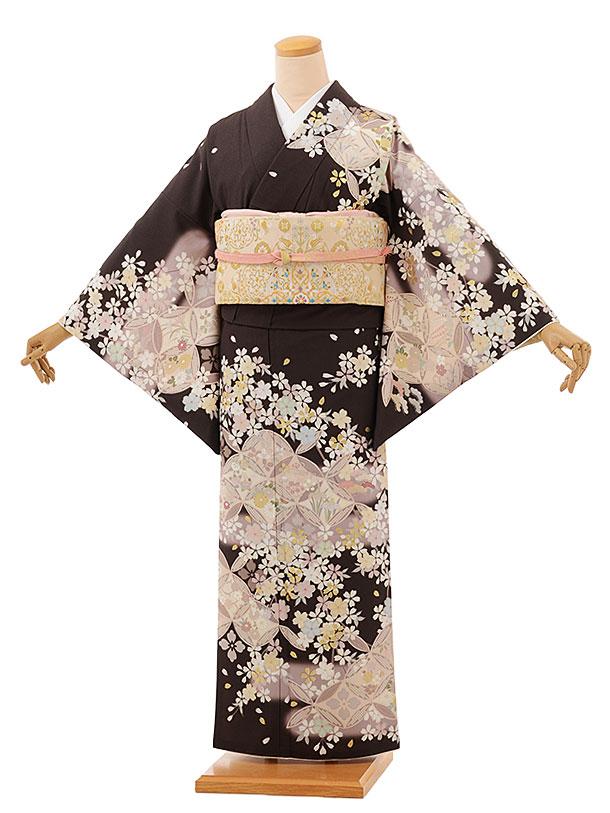 訪問着レンタル tc858 JAPANSTYLE 濃ブラウン地 七宝に桜(化繊)