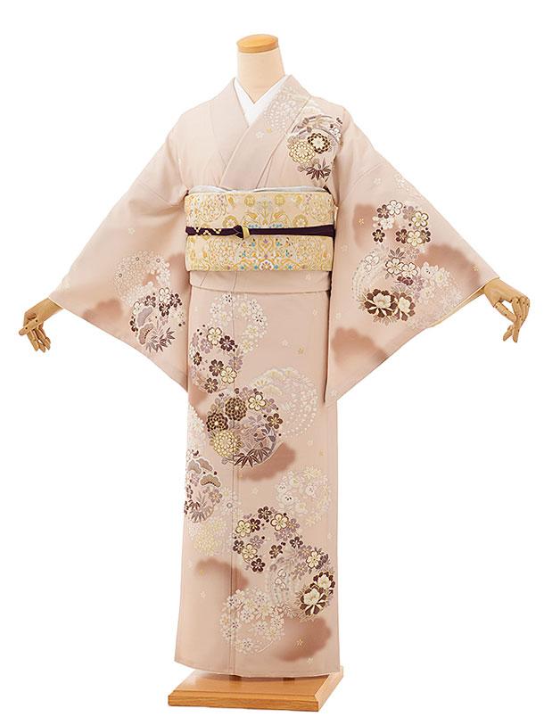 訪問着レンタルtc861 JAPANSTYLE ベージュ地 花丸(化繊)