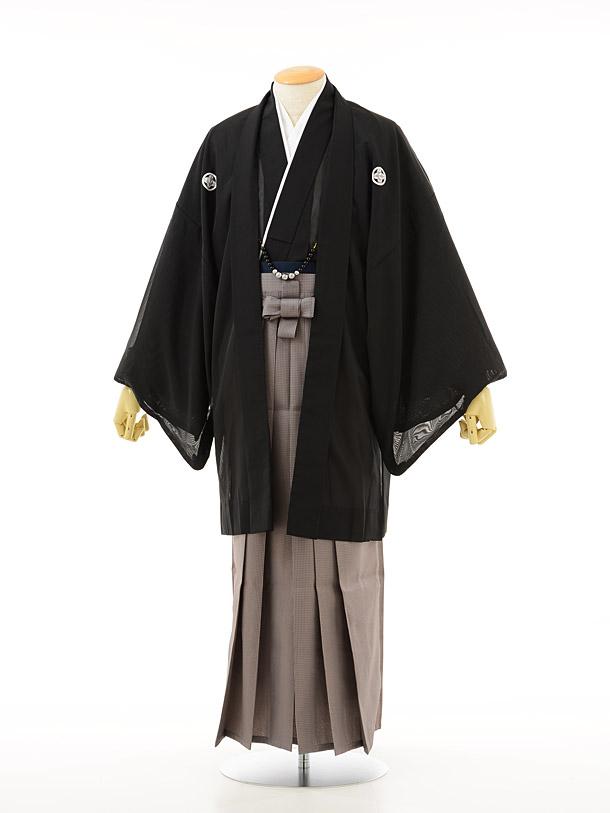 黒紋付×グレー格子(夏用)
