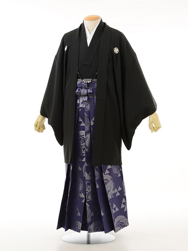 黒紋付×紫ラメ龍