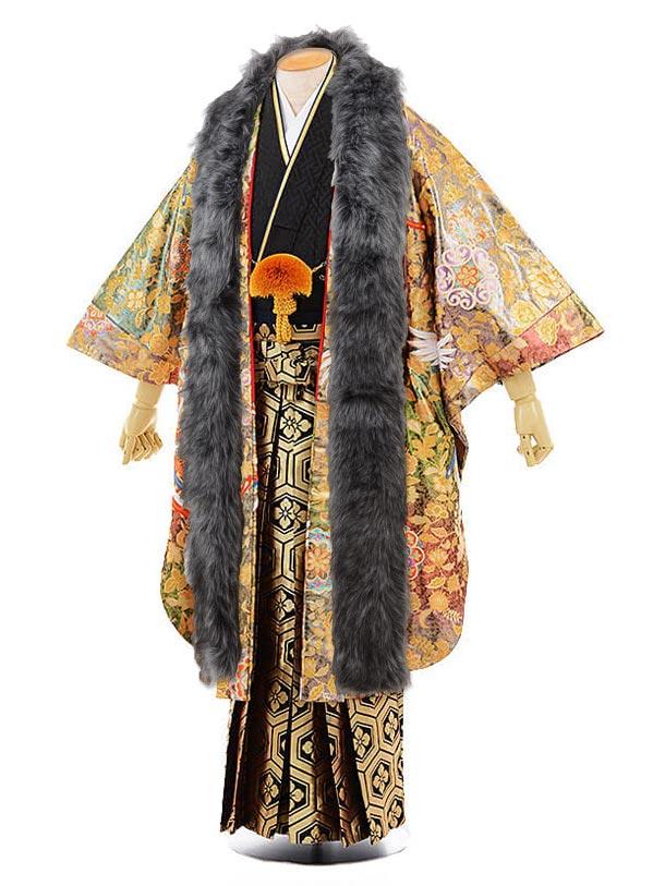 男性用袴men0057ゴールド地 鳳凰×黒地 紗綾型 紋服(L)