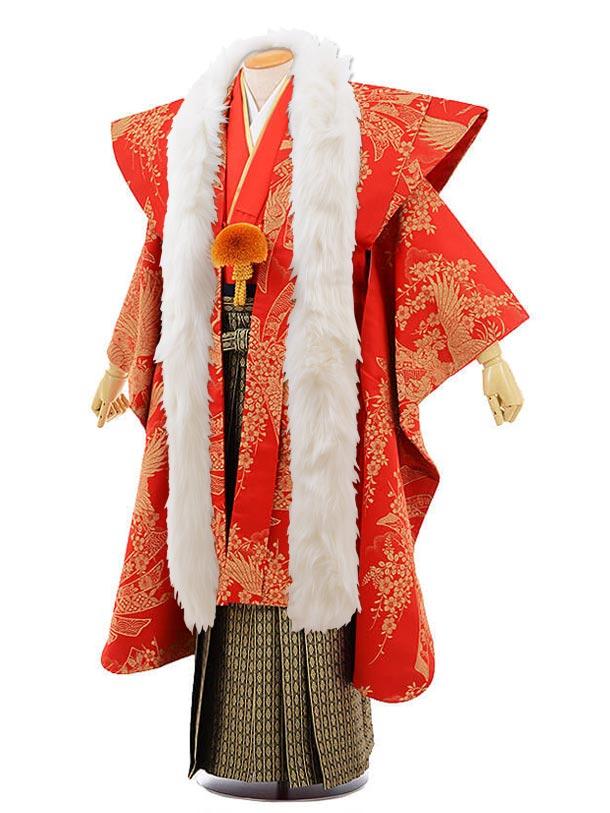 男性用袴men0062陣羽織 赤金 鶴(L)