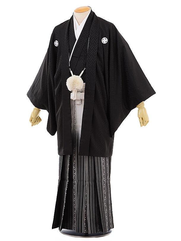 男性用袴men0063黒地 紗綾型 紋付×白黒 ぼかし袴(L)