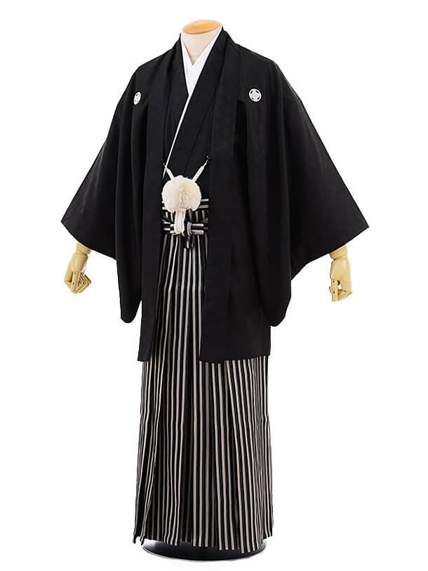 男性用袴men0065黒地 菱 紋付×黒ラメ 袴(S)