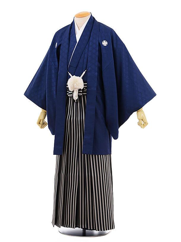 男性用袴men0066黒地 菱 紋付×紺ライン袴(L)