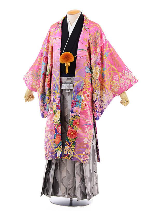 男性用袴men0067 黒 紋服 ピンクラメ 華(L)