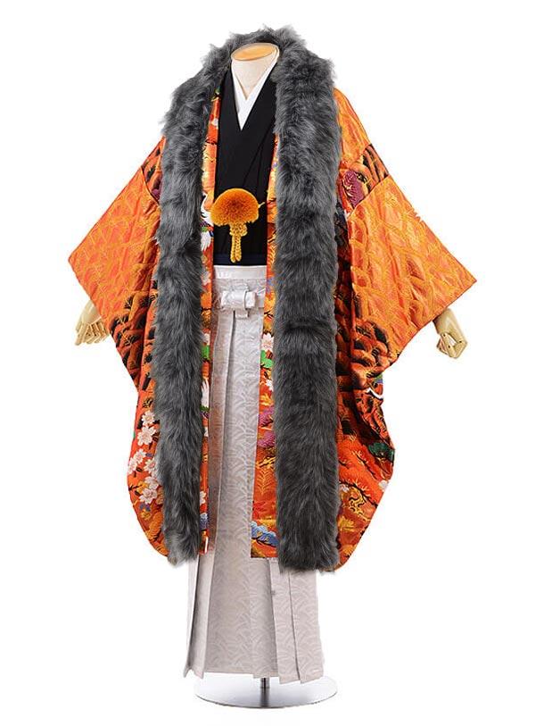 男性用袴 men0068 黒地に風 紋服 オレンジ 鶴(L)