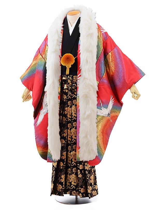 男性用袴men0070 黒地に風 紋服 ピンク レインボー 鶴(L)