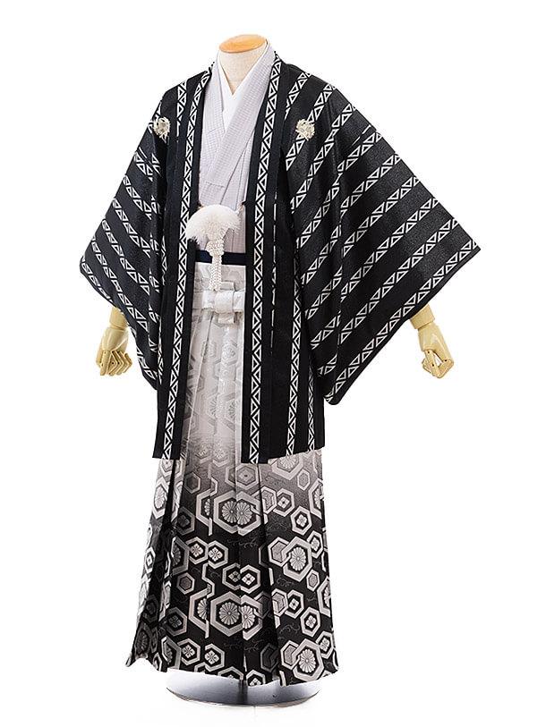 男性用袴men0072 黒地変わりストライプ×白黒ぼかし亀甲(S)