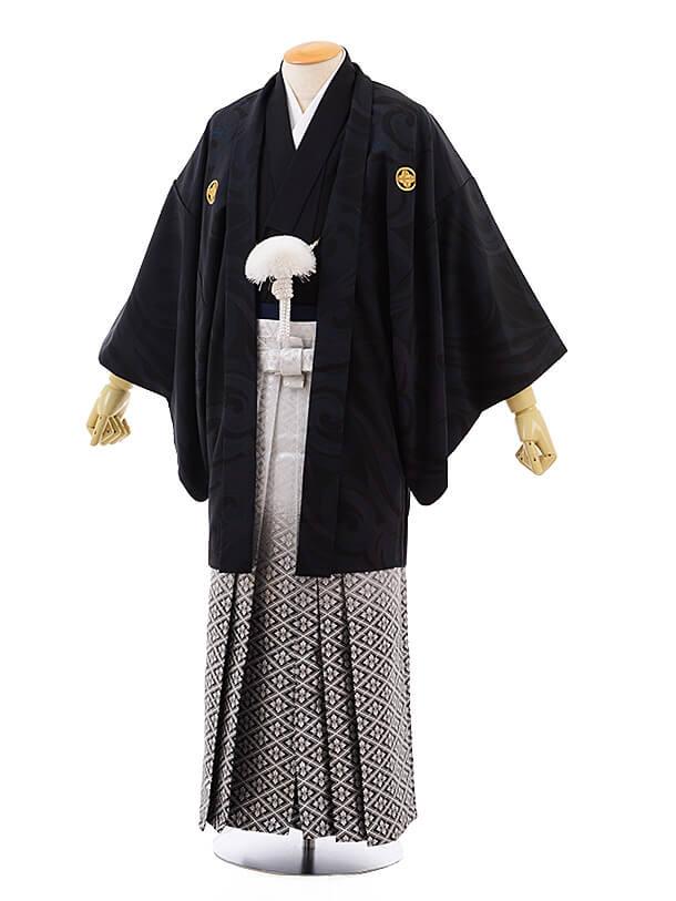 男性用袴men0073 黒地に風 紋付×白黒ぼかし菱(S)