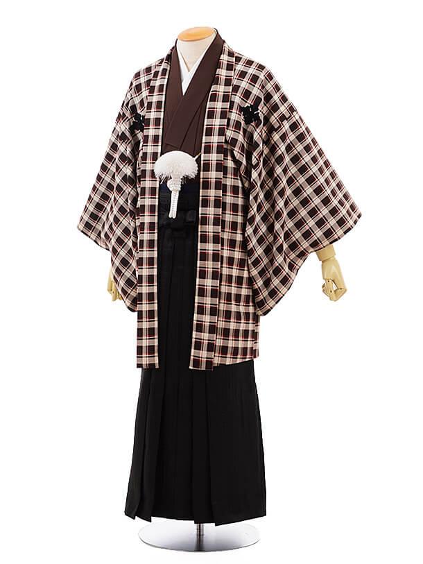 男性用袴men0075 ブラウンチェック×黒(S)