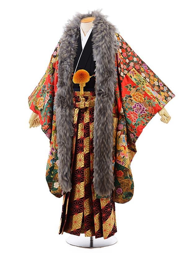 男性用袴men0076 黒 紋服 赤 総手刺しゅう(L)