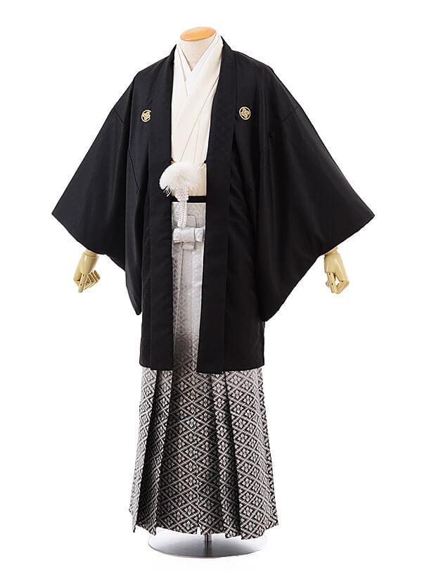 男性用袴men0093 黒 紋付×白黒ぼかし菱(L)