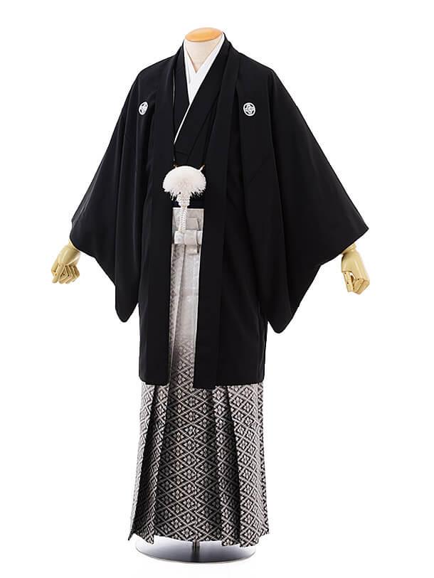 男性用袴men0095 黒 紋付×白黒ぼかし菱(L)