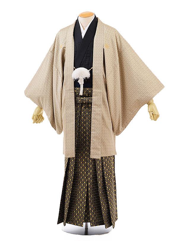 男性用袴men0096 ゴールド 紋付×黒ゴールド(L)