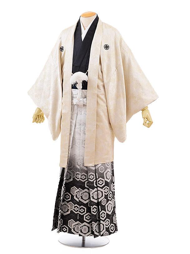 男性用袴men0097 クリームゴールド 紋付×白黒ぼかし亀甲(LL)