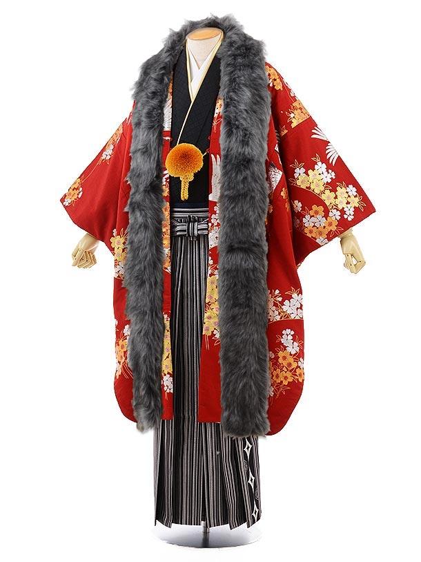 男性用袴men0102黒紋服×シルバーストライプ