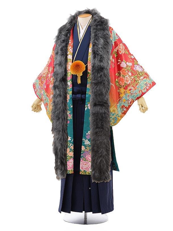 男性用袴men0103ローズピンクグリーンぼかしバラ×紺袴