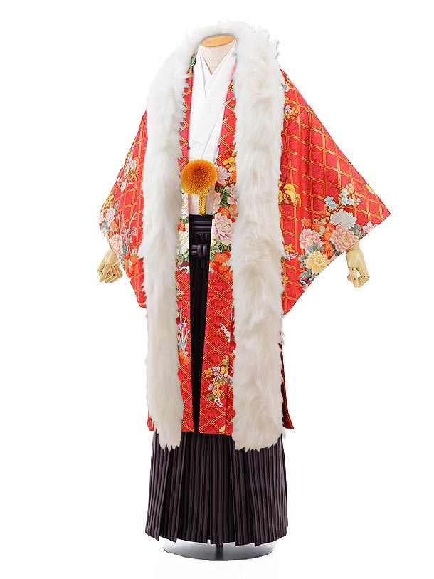 男性用袴men0106赤地菱ぼたん×黒パープルストライプ袴