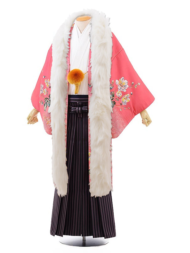 男性用袴men0107ピンク地花×黒パープルストライプ袴