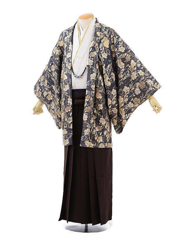男性用袴men0108グレー地花×ブラウン袴