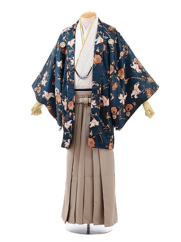 男性用袴men0109ブルーグリーン地ゆりとバラ×ベージュ袴