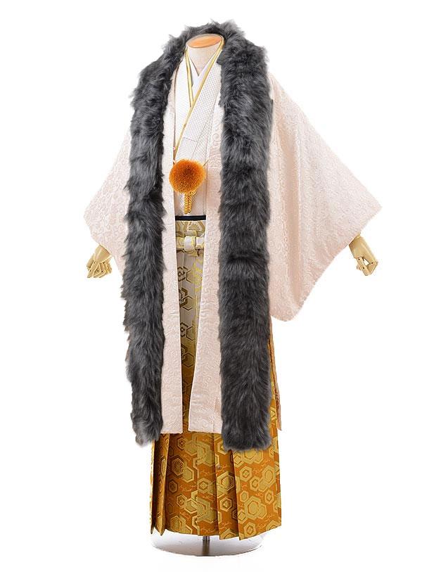 男性用袴men0110オフホワイト唐織×ゴールドぼかし袴