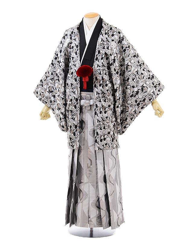 男性用袴men0112シルバー変わり柄×シルバー袴
