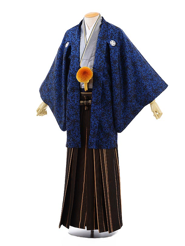 男性用袴men0113ブルー変わり柄×ゴールド黒ストライプ袴