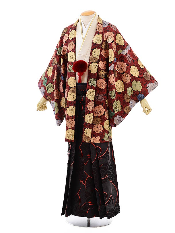 男性用袴men0115赤地バラ×黒鶴袴