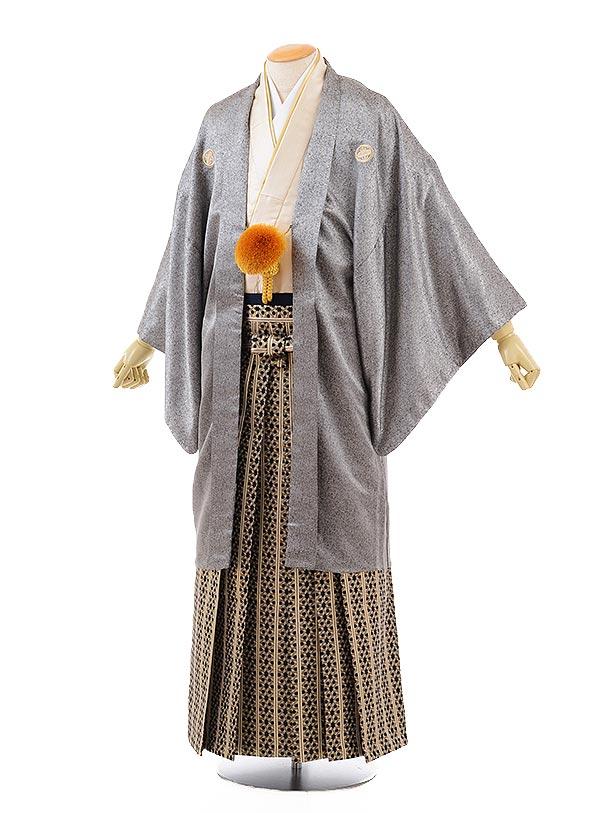 男性用袴men0116シルバー地龍刺繍×黒ゴールド袴