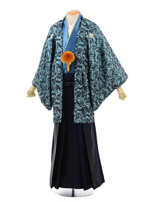男性用袴men0122黒地ターコイズラメ×黒ブルーストライプ袴
