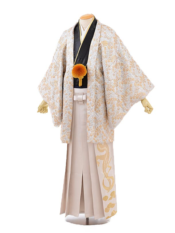 男性用袴men0123オフホワイト地ゴールド変わり柄×オフホワイト金龍
