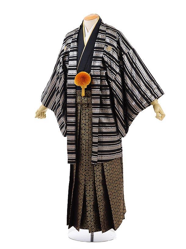 男性用袴men0124黒シルバー縞×黒ゴールド袴