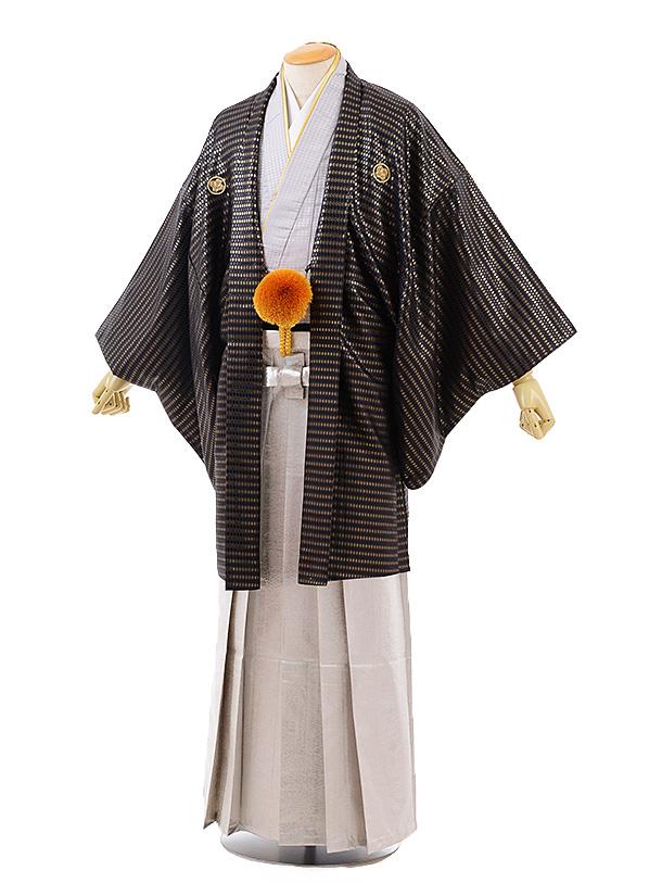 男性用袴men0126 黒 ゴールト ゙紋服×シルバー袴
