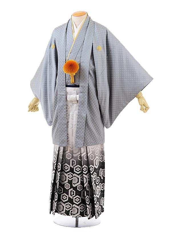 男性用袴men0128 グレー 刺子 紋服×白黒ぼかし袴