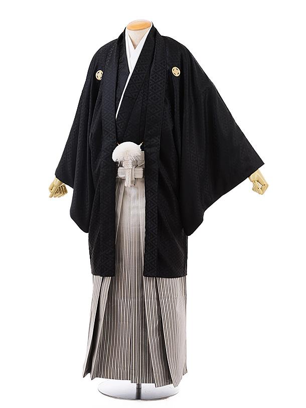 【特大】男性用袴men0130 黒地 菱 紋服×白グレーぼかし袴