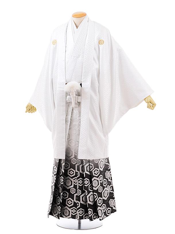 【特大】男性用袴men0133 白地 菱 紋服×白黒ぼかし袴