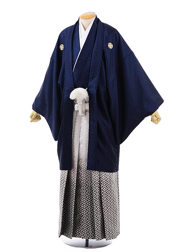 【特大】男性用袴men0134 紺地 菱 紋服×白黒ぼかし菱 袴