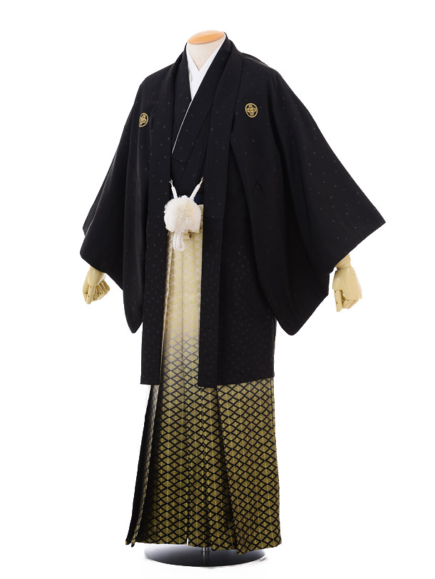 成人式卒業式袴レンタル(男)D001黒紋付肩衣×ゴールドぼかし袴