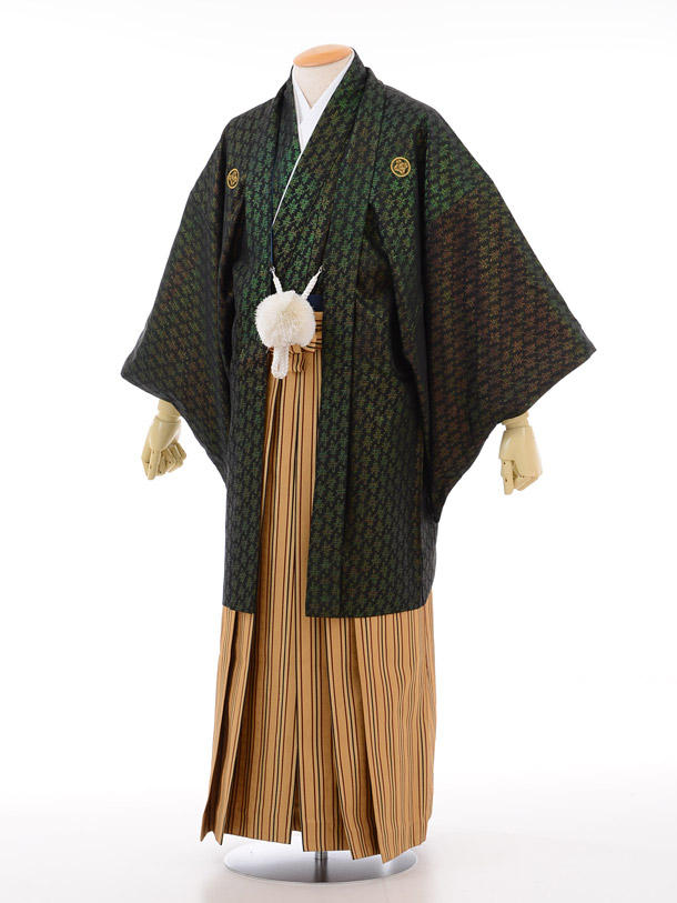 成人式卒業式袴レンタル(男)D014黒金寿紋付×からし色ストライプ袴