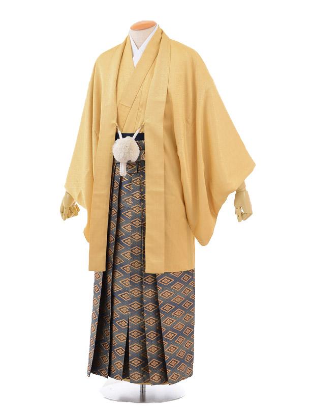 成人式卒業式袴レンタル(男)D015からし色羽織×ゴールド菱袴