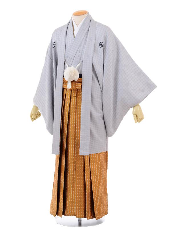 成人式卒業式袴レンタル(男)D016グレー紋付×オレンジ袴