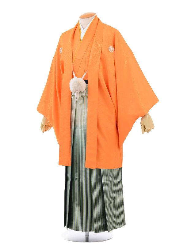 成人式卒業式袴レンタル(男)D017オレンジ紋付××グリーンシルバー袴