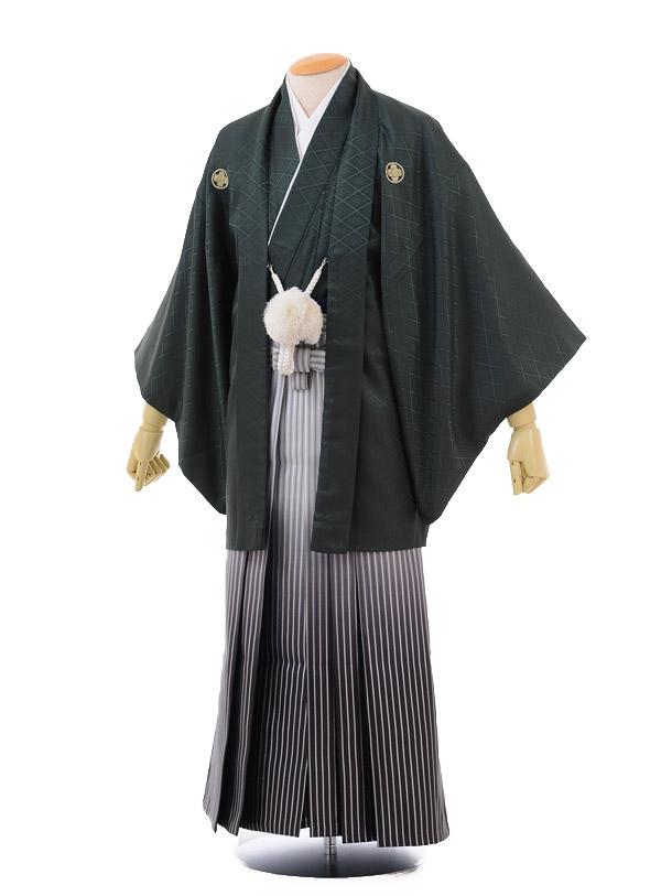 成人式卒業式袴レンタル(男)D018モスグリーン紋付×黒シルバーぼかし袴