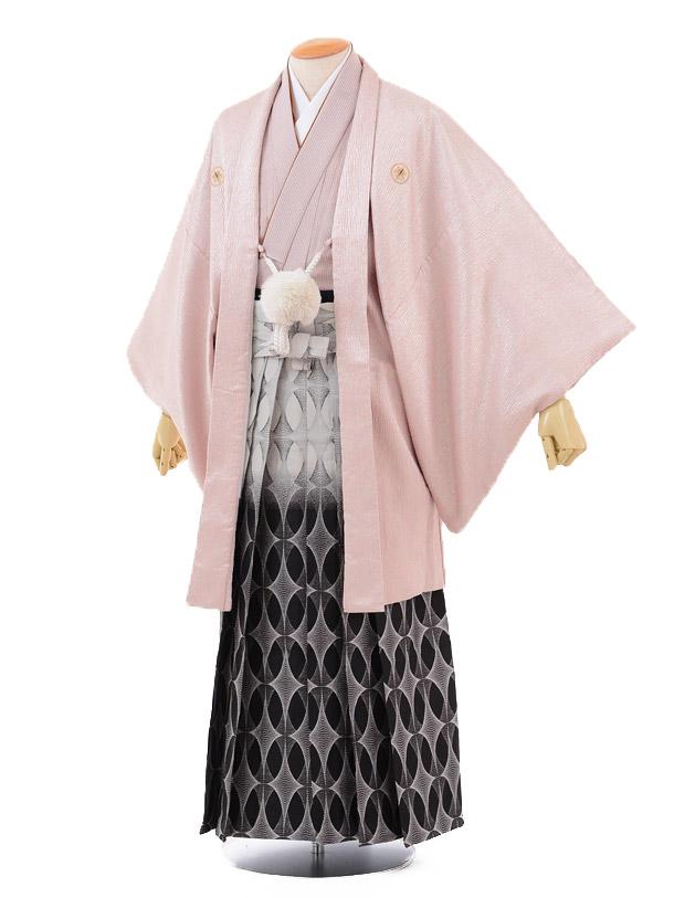 成人式卒業式袴レンタル(男)D020シルバーピンク紋付×黒シルバーぼかし袴