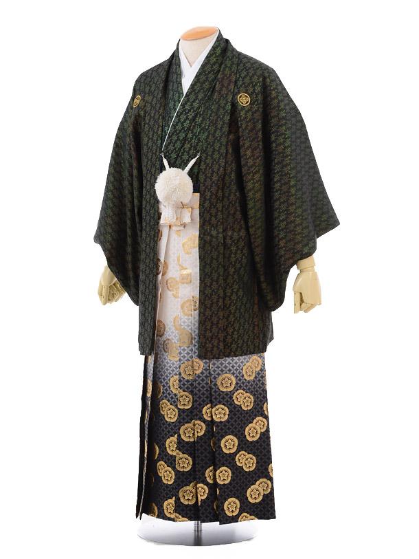 成人式卒業式袴レンタル(男)D022黒金寿紋付×ゴールド黒ぼかし袴