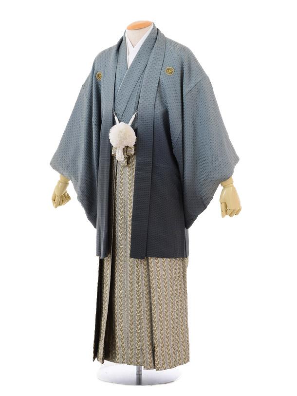 成人式卒業式袴レンタル(男)D027グリーングレー紋付×ベージュ袴